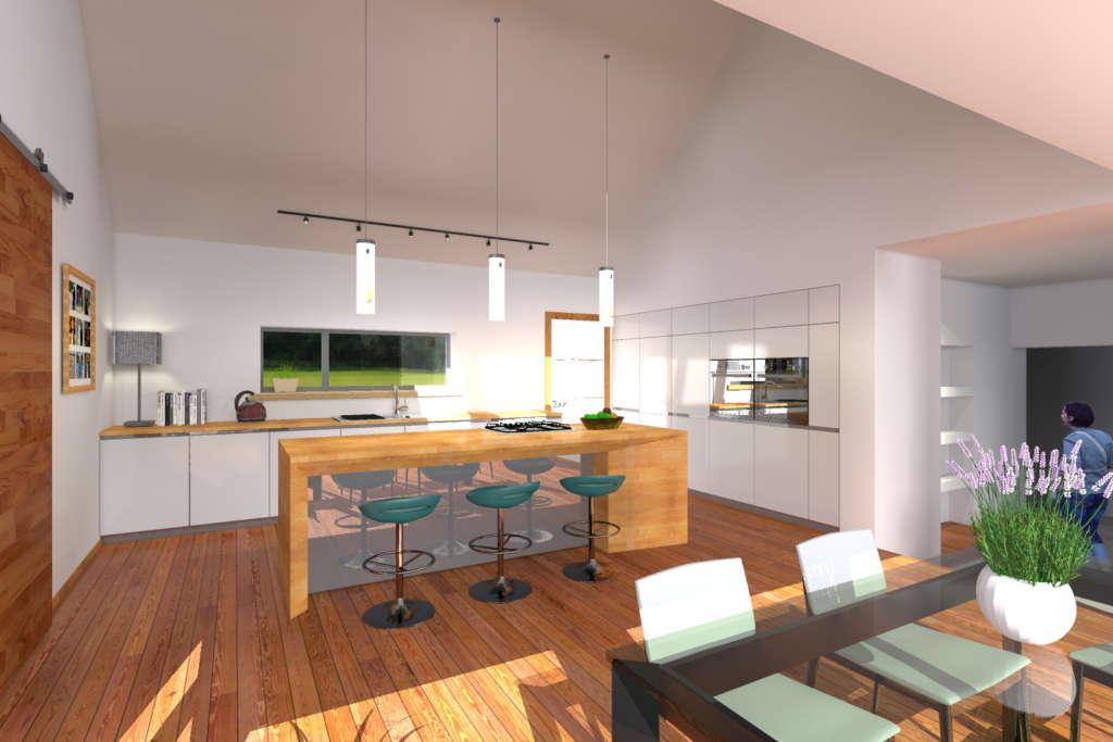 Rural retreat kitchen render