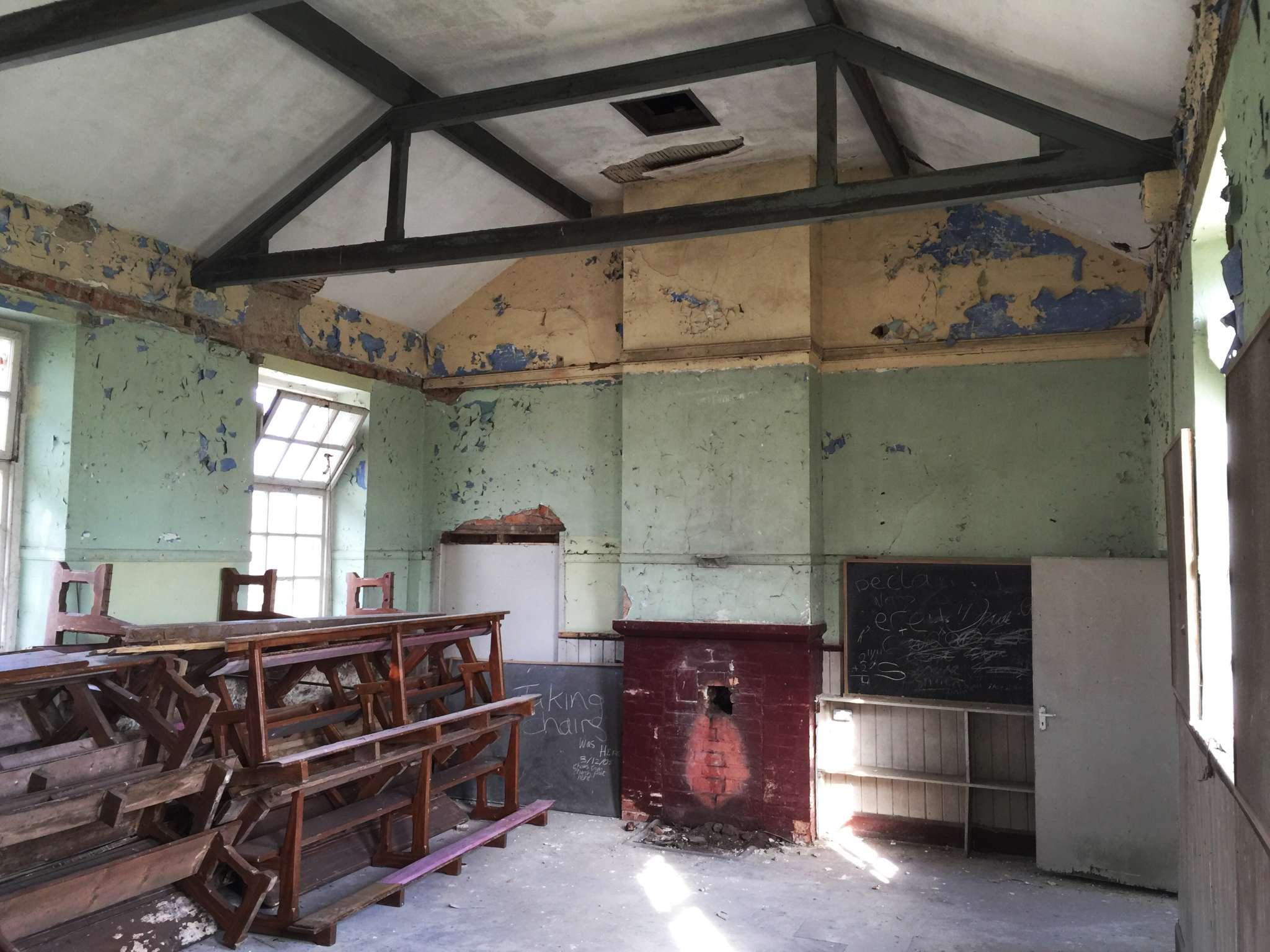 Killygarry School interior before restoration